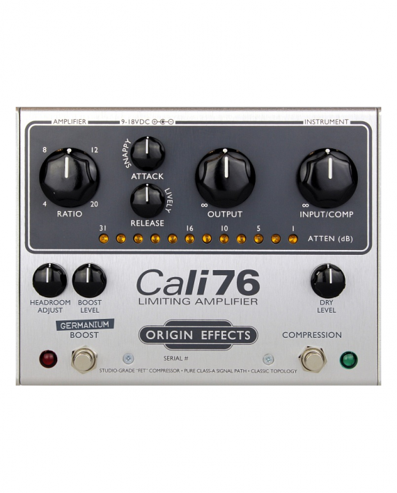 Cali76-G-P-Origin-Effects-Analogue-Boutique-Compressor-Sustainer-Front-Controls