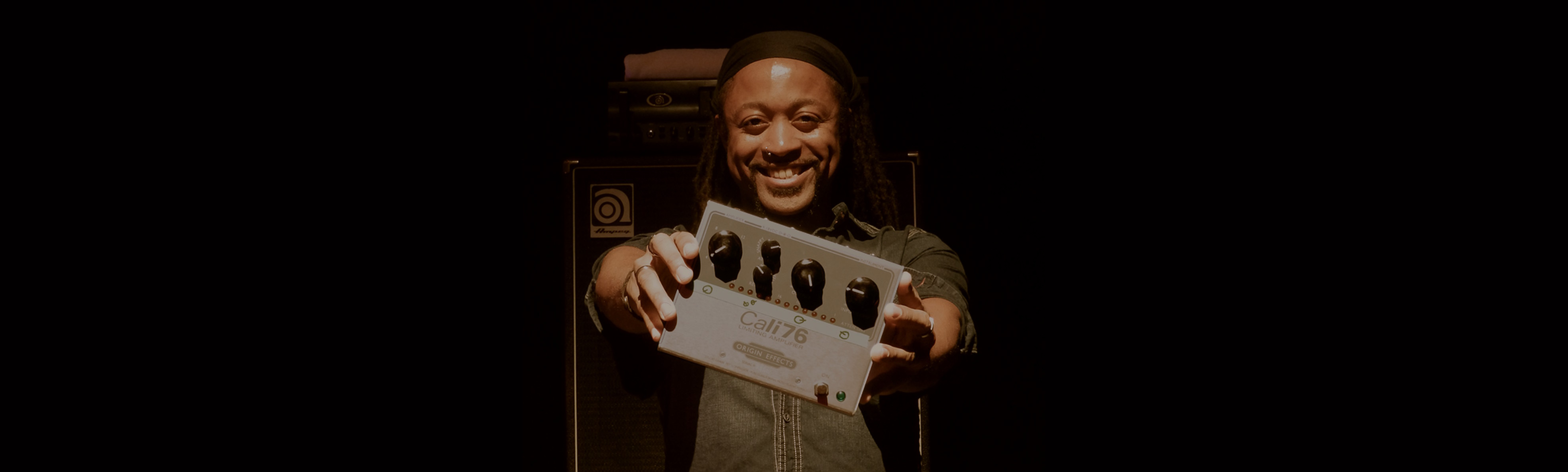 Francis Hylton with his Cali76-TX compressor pedal. Chaka Khan, Incognito