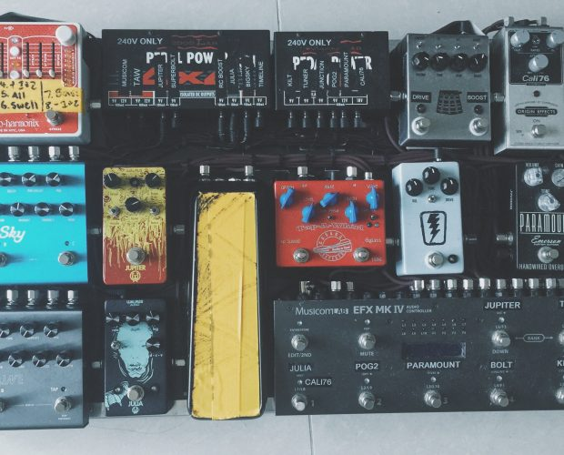Origin Effects Cali76 Compact compressor,  Musicomlab switcher true bypass looper, EHX POG2, Emerson Custom Paramount, JHS Superbolt,  JHS The Kilt, Walrus Audio Jupiter Fuzz, Volume pedal, Cusack Tap- a-Whirl, Walrus Audio Julia. Pedalboard