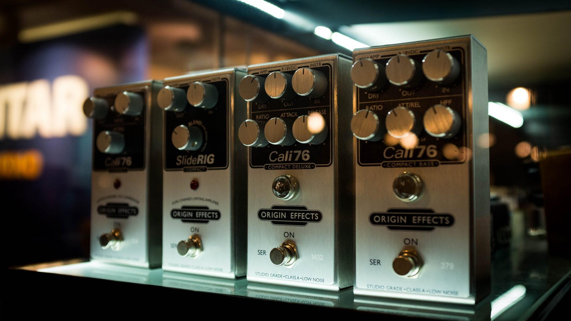 Andertons Stock of Origin Effects Compact analogue compressor pedals Urei 1176 boutique in a stompbox