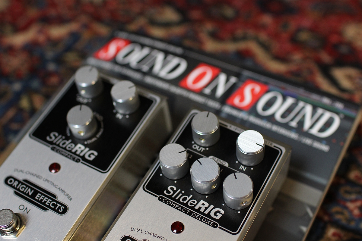 Sound on Sound magazine reviews Origin Effects SlideRIG Compact and Compact Deluxe 1176 style compressor pedals. Built in Britain boutique analogue guitar pedals