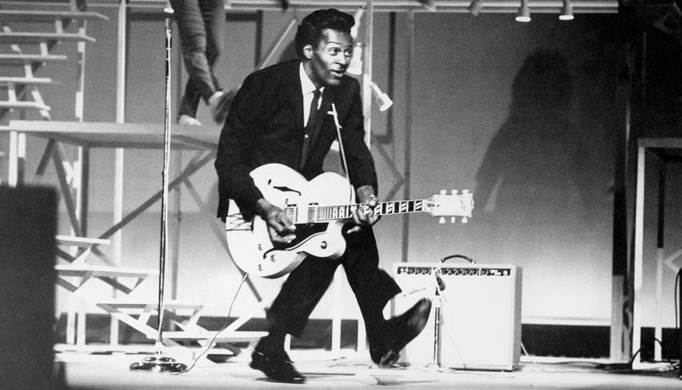 Chuck Berry Rock n' roll guitarist musician Gibson ES335 guitar player influenced Rolling Stones Elvis Presley Bruce Springsteen The Beatles American Singer You Never Can Tell Roll Over Beethoven Johnny B Goode