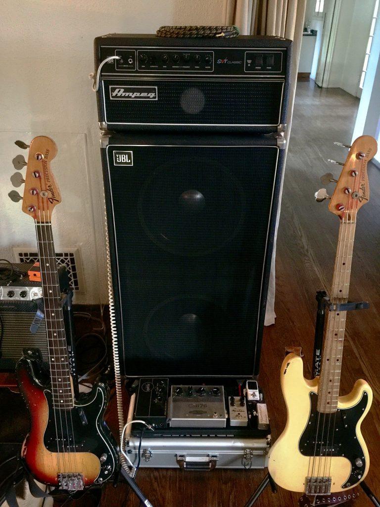 Matt Littell Fender Precision BassAmpeg SVT Classic JBL Cab SFX Sound Micro-Thumpinator Polytune2 tuner Darkglass Electronics Vintage Microtubes Cali76-TX compressor Noble preamp DI