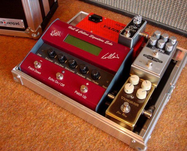 Gert Mikkelsen Pedaler.eu Origin Effects Cali76 Vemuram Jan Ray Yankee PSU Hall and Collins Signature Echo Pedalboard for Hank Marvin Shadows Guitar