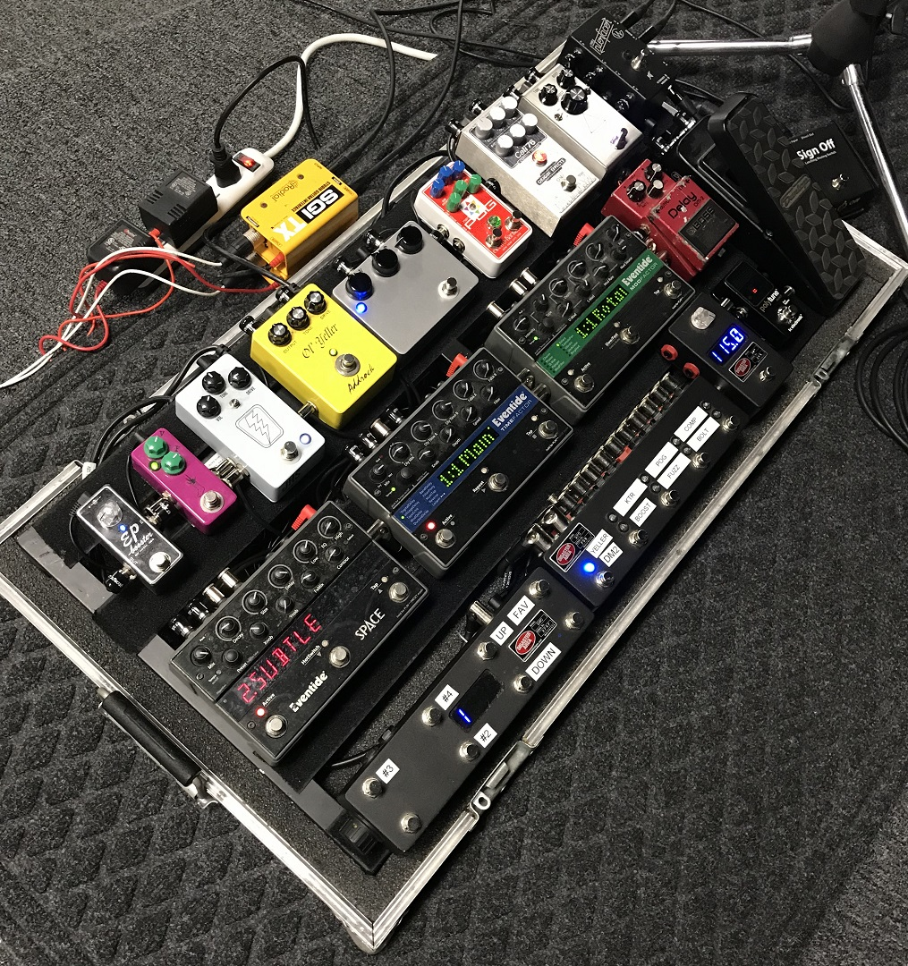 Allen Bays Pedalboard Origin Effects Cali76 Radial TX Eventide JHS Xotic TC Electronic Pedal Board Disaster Area Cali 76