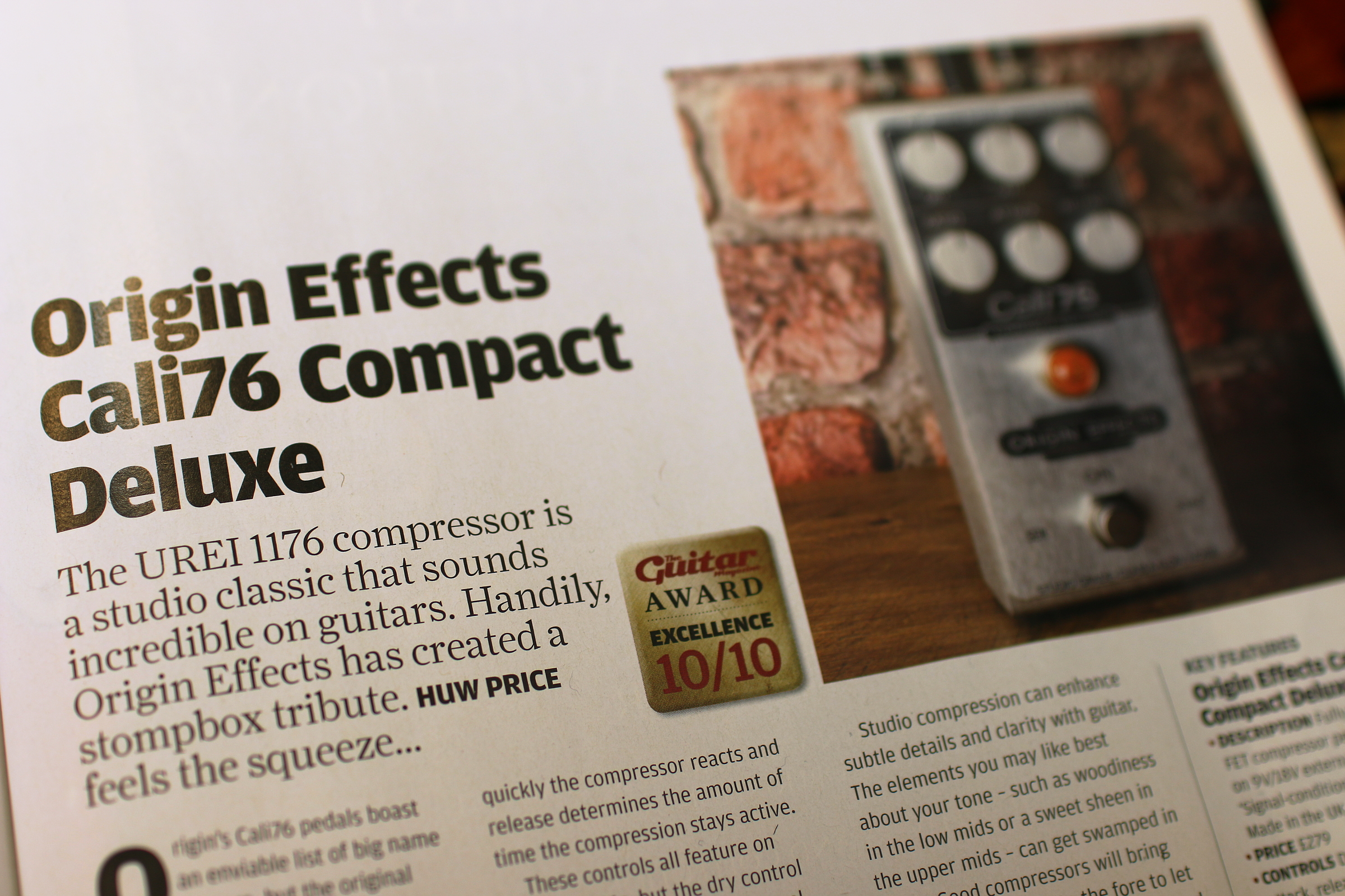 The Guitar Magazine Gives The Cali76-CD Full Marks and Bass Review Cali 76 Pedal Urei 1176 compressor origin effects