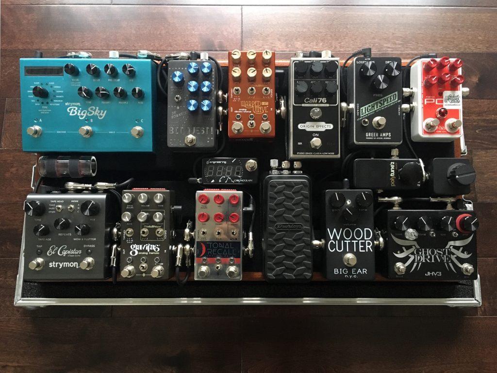 Steven Tijerino pedalboard Origin Effects Cali76 Greer Amps Lightspeed Chase Bliss Warped Vinyl Tonal Recall