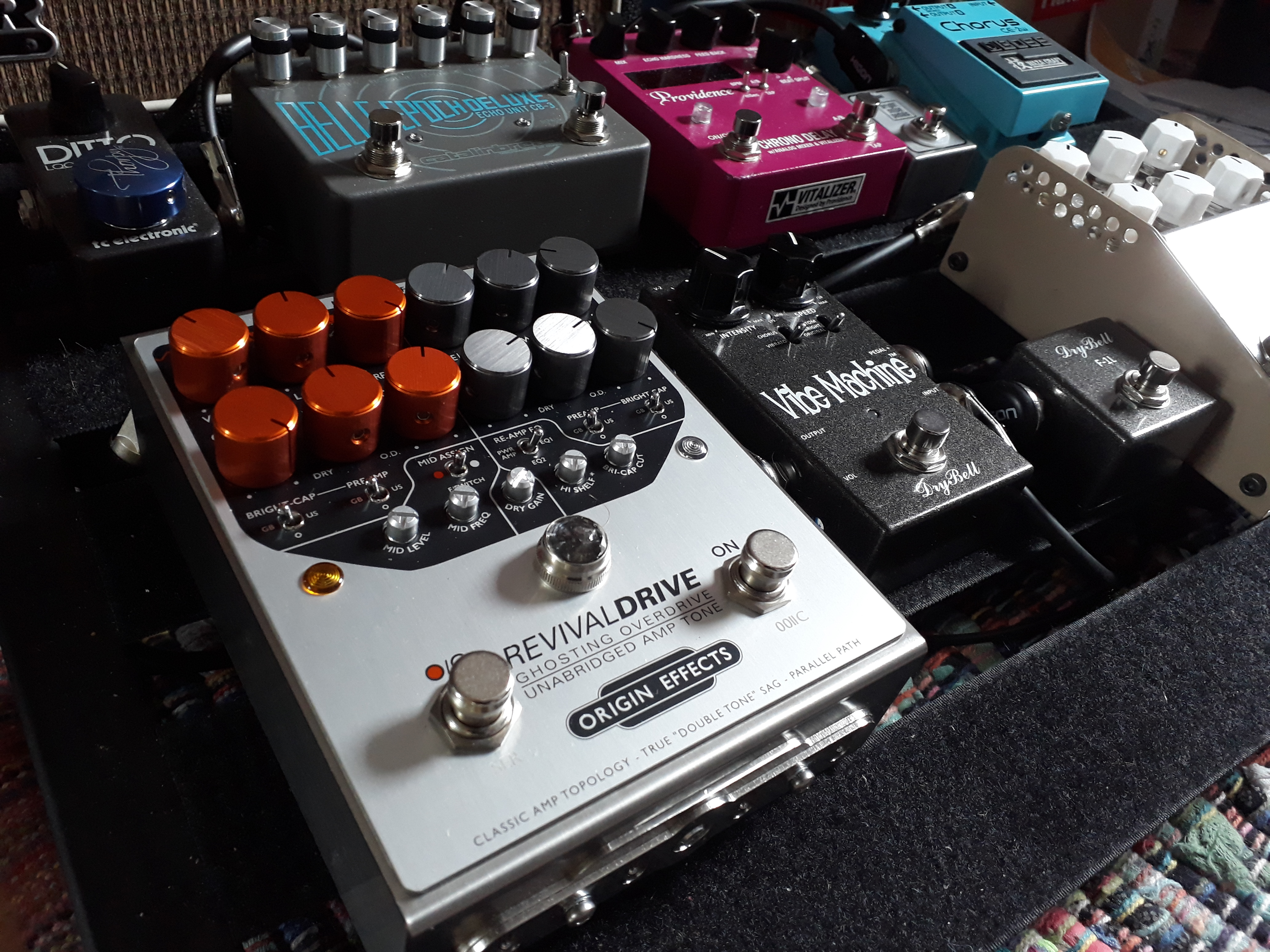 Origin Effects RevivalDRIVE amp in a box pedal on John Hosker pedalboard