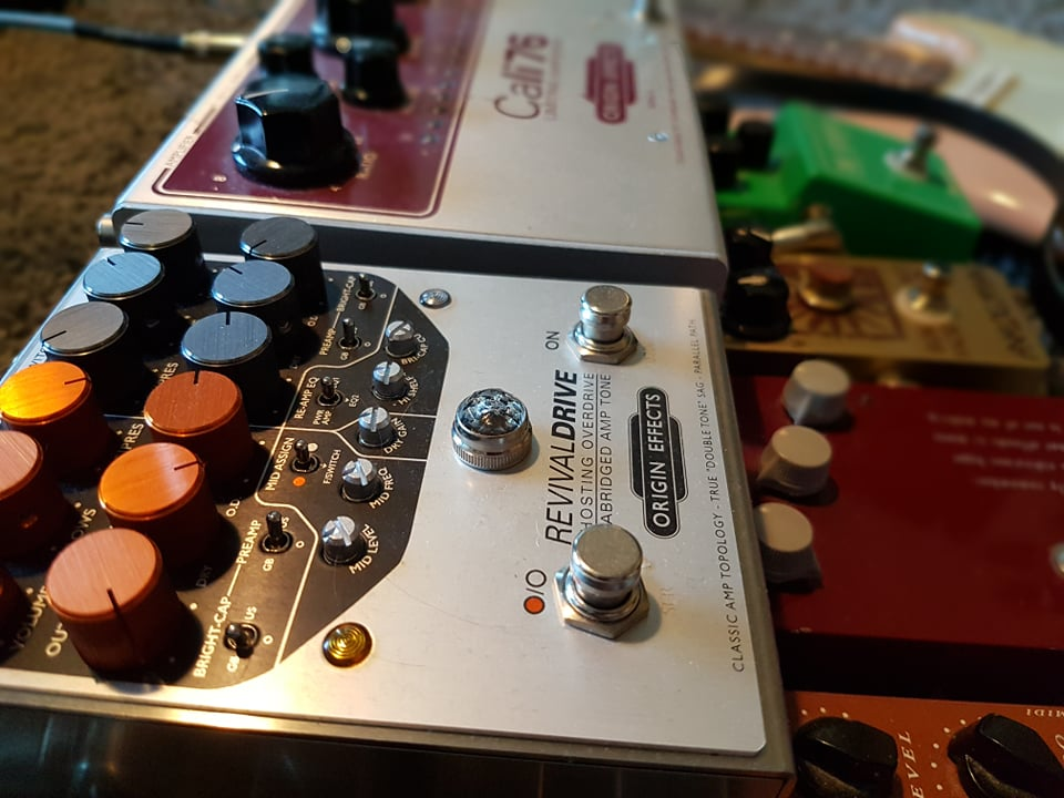 Reader pedalboard Origin Effects Cali76 RevivalDRIVE overdrive solidgoldfx formula 76 fuzz keeley analogman klon trex replica