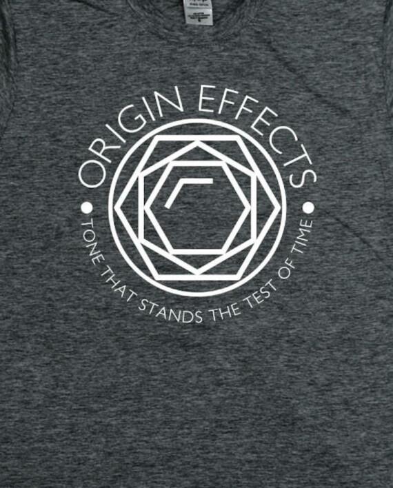 Origin Effects Grey T-Shirt Front Jewel Design close up