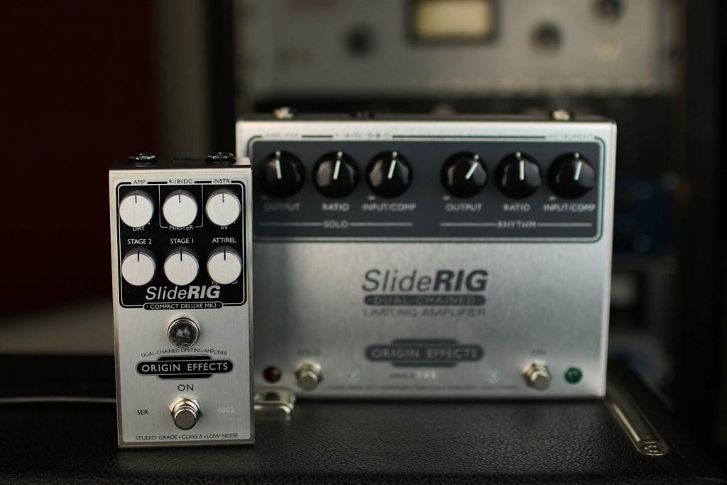 Origin Effects SlideRIG Compact Deluxe Mk2 compressor limiter pedal sidechain dualchained lowell george little feat slide guitar large format