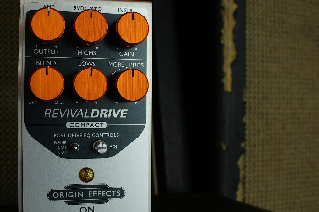 RevivalDRIVE Compact Front View Overdrive Pedal Drive Origin Effects Vintage Amp Tone