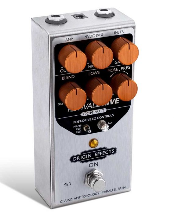 RevivalDRIVE Compact Side View Overdrive Pedal Drive Origin Effects Vintage Amp Tone