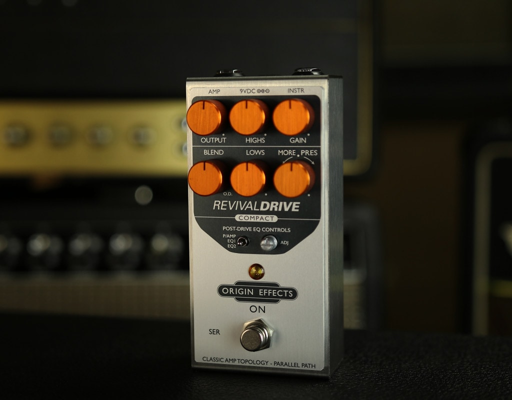 Origin Effects RevivalDRIVE Compact. Best tube valve amp in a box overdrive pedal. British American amplifier tones